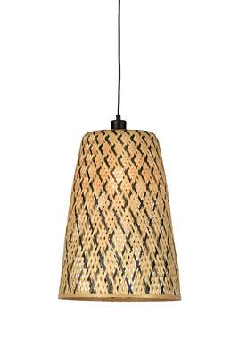 Suspension Kalimantan Small / Bambou - H 48 cm - GOOD&MOJO noir/beige/bois naturel en fibre végétale