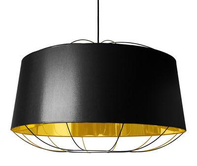 Suspension Lanterna Large / Ø 75 x H 49 cm - Petite Friture noir/or en métal/tissu