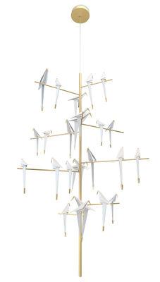 Suspension Perch Light Tree LED / Oiseaux mobiles - Ø 170 x H 270 cm - Moooi blanc translucide,laiton en métal
