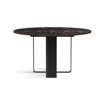 Table à rallonge Felice /Ø 130 à L 230 cm - Céramique effet marbre & palissandre - RED Edition noir en céramique/pierre