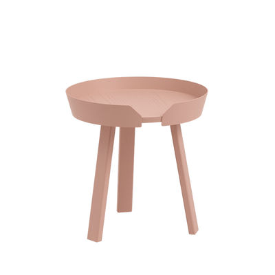 Mobilier - Tables basses - Table basse Around Small / Ø 45 x H 46 cm - Muuto - Rose pâle - Frêne teinté