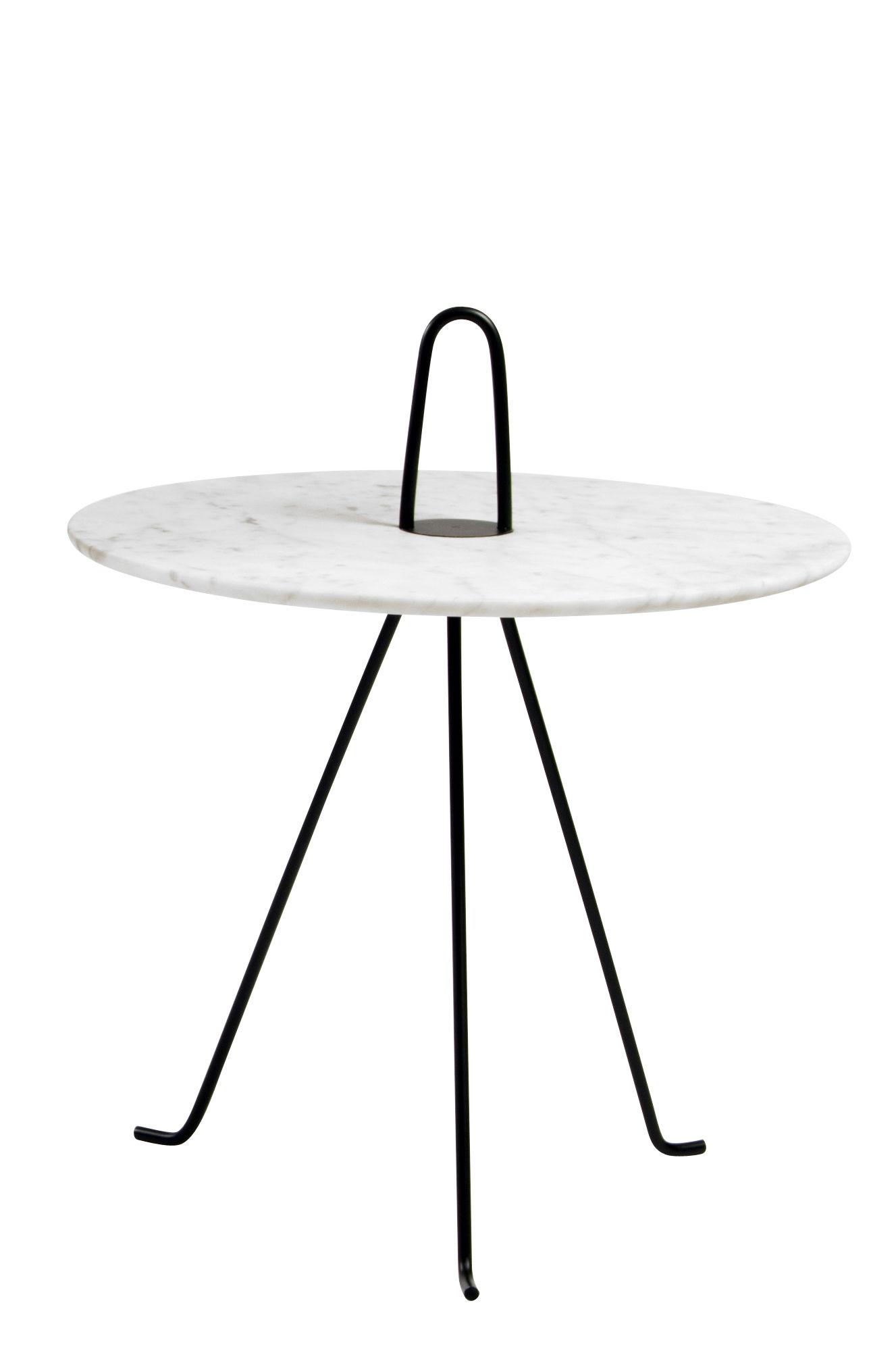 Mobilier - Tables basses - Table d'appoint Tipi / Ø 42 x H 37 cm - Marbre - Objekto - Marbre blanc / Pied noir - Acier peint, Marbre de Carrare