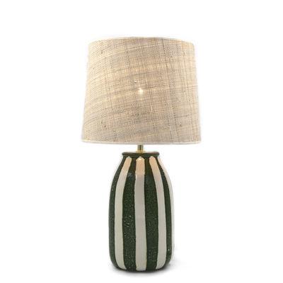 Lighting - Table Lamps - Palmaria Small Table lamp - / H 48 cm - Ceramic & raffia by Maison Sarah Lavoine - Green / Natural - Ceramic, Natural rabana
