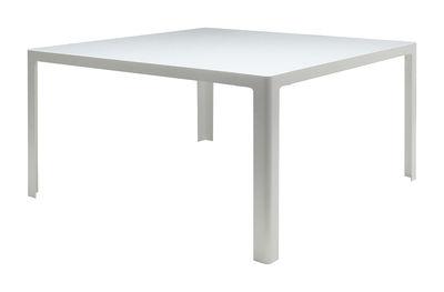 Table Metisse / Verre - 140 x 140 cm - Zeus blanc en métal