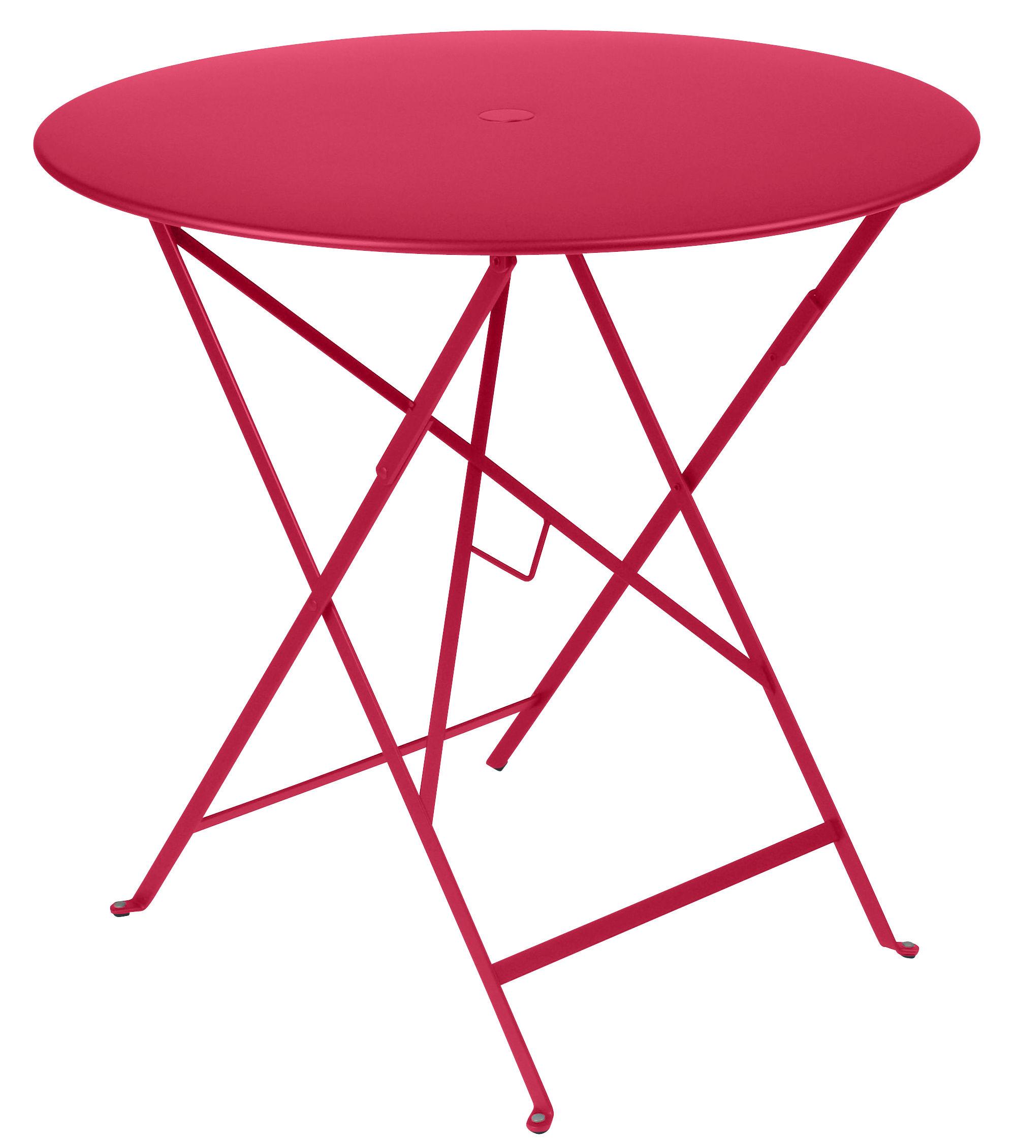 Outdoor - Tavoli  - Tavolo pieghevole Bistro - /Ø 77 cm - Foro per parasole di Fermob - Rosa pralina - Acciaio laccato