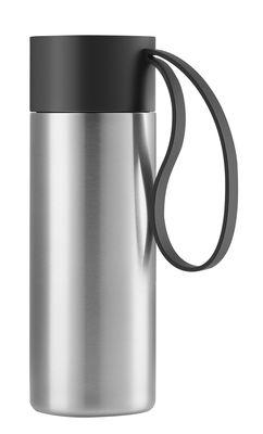 Tischkultur - Tassen und Becher - To Go Cup Thermobecher / thermoisoliert - 0,35 l - Eva Solo - Gebürsteter Stahl / Schlaufe schwarz - rostfreier Stahl, Silikon