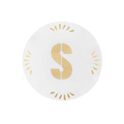 Arts de la table - Assiettes - Assiette à mignardises Lettering / Ø 12 cm - Lettre S - Bitossi Home - Lettre S / Or - Porcelaine