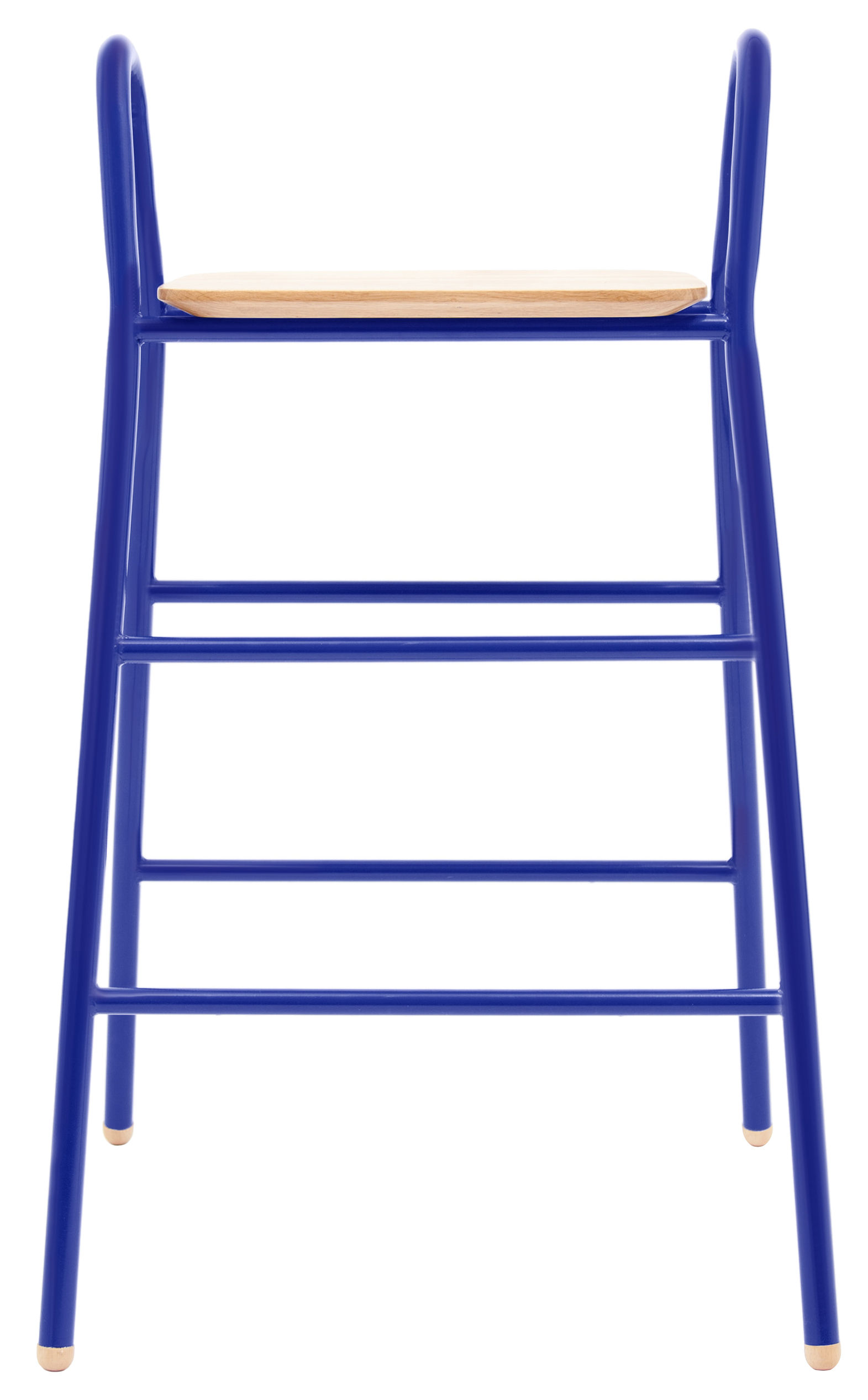 Furniture - Bar Stools - Lucien Bar stool - H 75 cm - Wood seat by Hartô - Realistic blue - Lacquered steel, Solid oak