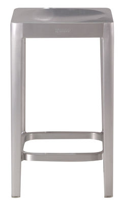 Furniture - Bar Stools - Outdoor Bar stool - H 61 cm - Metal by Emeco - Brushed aluminium - Aluminium