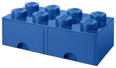 Déco - Pour les enfants - Boîte Lego® Brick / 8 plots - Empilable - 2 tiroirs - ROOM COPENHAGEN - Bleu - Polypropylène