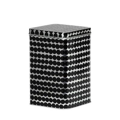 Kitchenware - Kitchen Storage Jars - Räsymatto Box - / Metal - H 17 cm by Marimekko - Räsymatto / Metal & black - Metal
