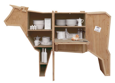 Mobilier - Commodes, buffets & armoires - Buffet Sending Animals Vache / L 225 x H 151 cm - Seletti - Bois naturel - Bois