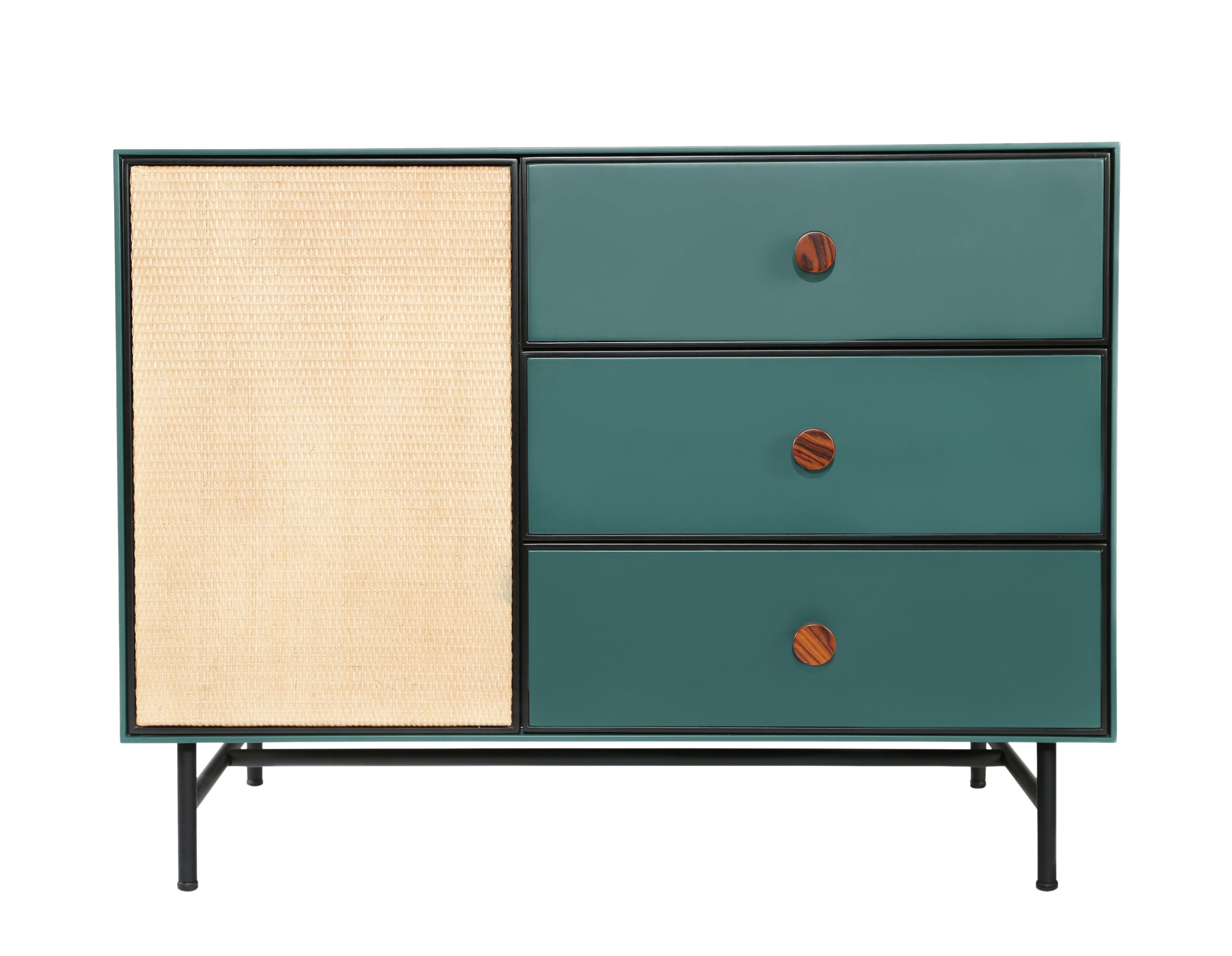 Furniture - Dressers & Storage Units - Essence Chest of drawers - / Wood & rattan by Maison Sarah Lavoine - green & rattan - Lacquered steel, Lacquered wood, Rattan, Rosewood, Velvet