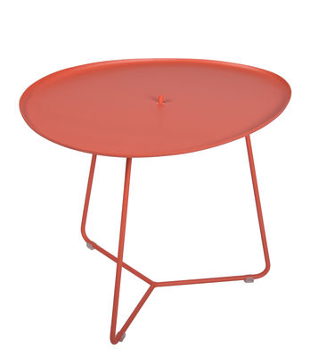 Furniture - Coffee Tables - Cocotte Coffee table - / L 55 x H 43.5 cm - Detachable table top by Fermob - Orangey-red - Painted steel