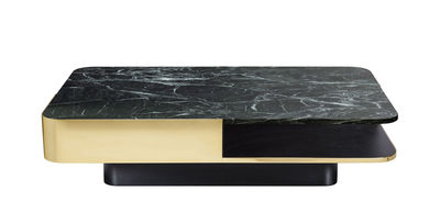 Furniture - Coffee Tables - Lounge Coffee table - / Marble - 120 x 80 cm by RED Edition - Brass / Green marble - Marble, Solid brass, Tinted solid beech