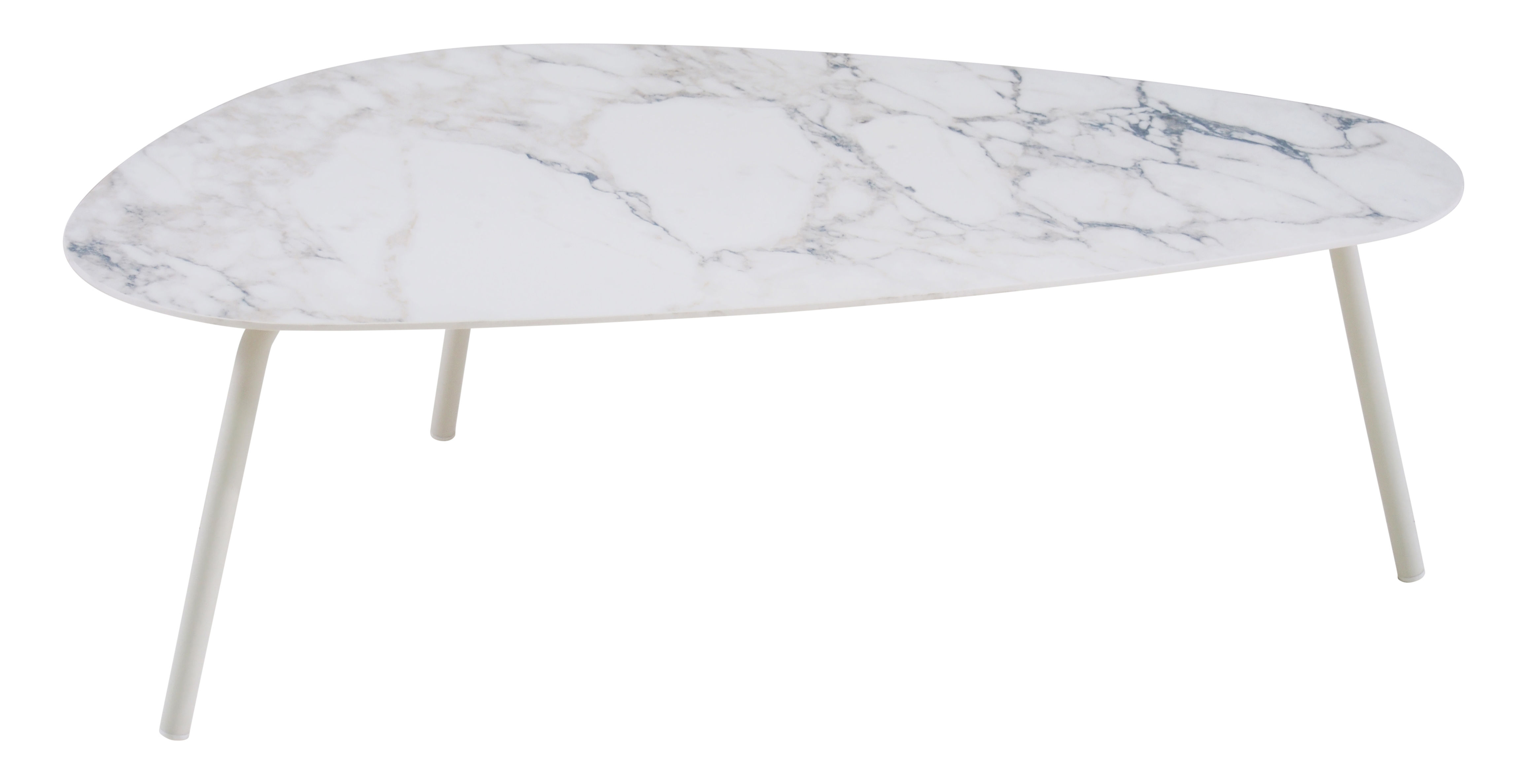 Furniture - Coffee Tables - Terramare Coffee table - Porcelain stoneware - L 108 cm by Emu - White marble effect / White legs - Stoneware, Varnished aluminium