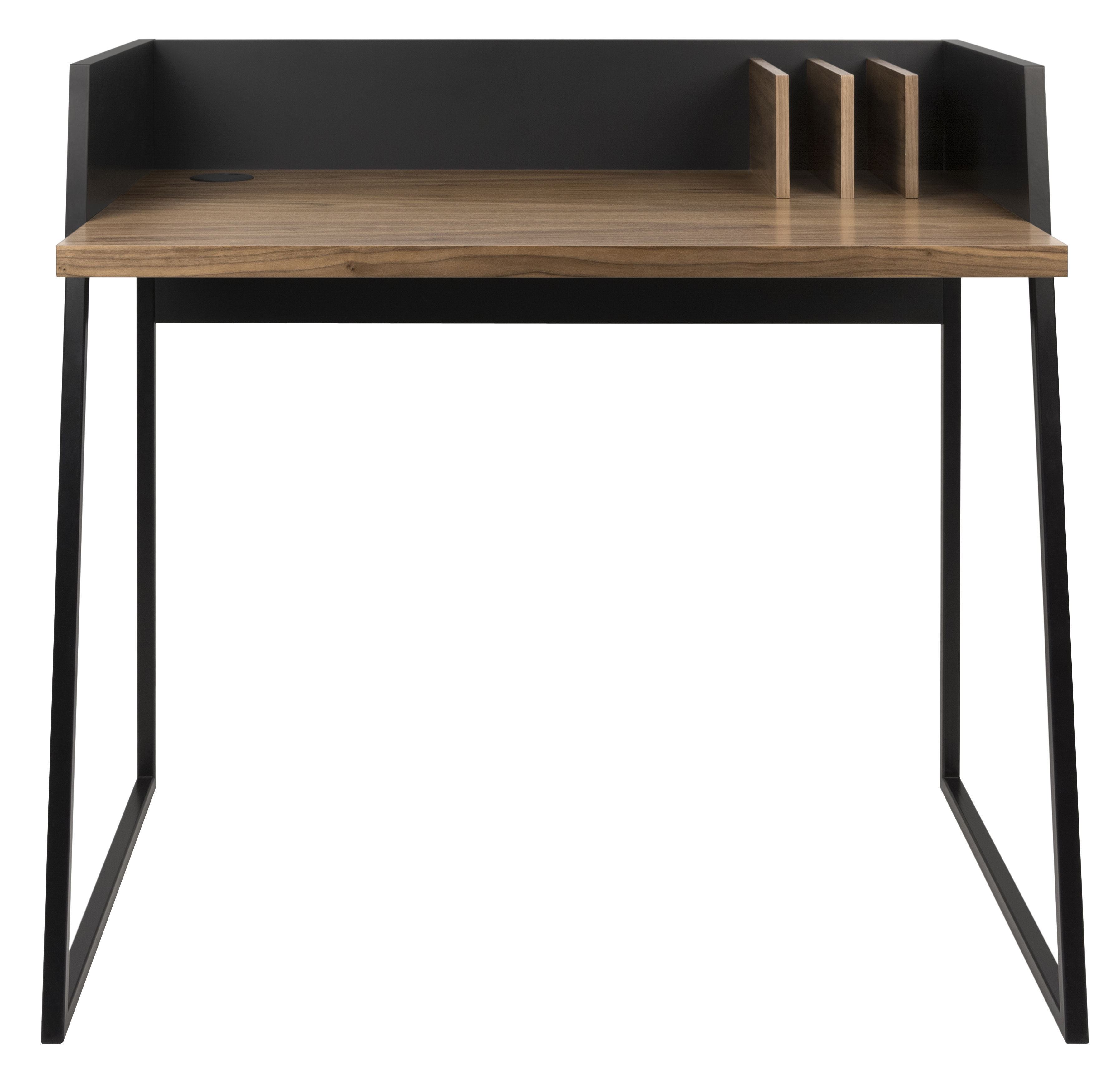 Furniture - Office Furniture - Working Desk by POP UP HOME - Black / Walnut - Lacquered metal, Walnut plywood