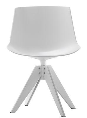 Möbel - Stühle  - Flow Drehstuhl / 4 Stuhlbeine aus Stahl - MDF Italia - Weiß / Fußgestell weiß - lackierter Stahl, Polykarbonat