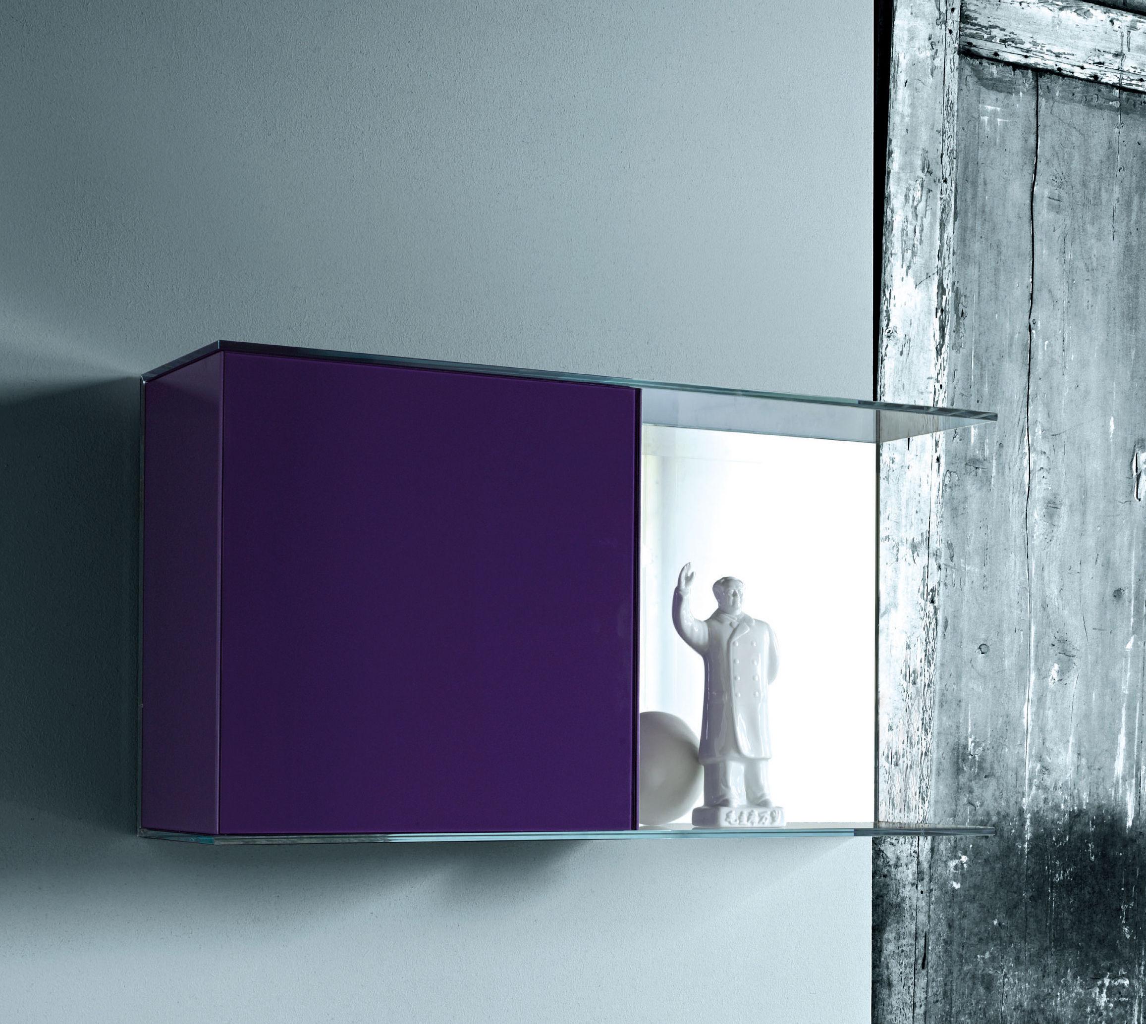 Mobilier - Etagères & bibliothèques - Etagère Float Wall 3 L 95 x H 50 cm - Glas Italia - Violet - Verre
