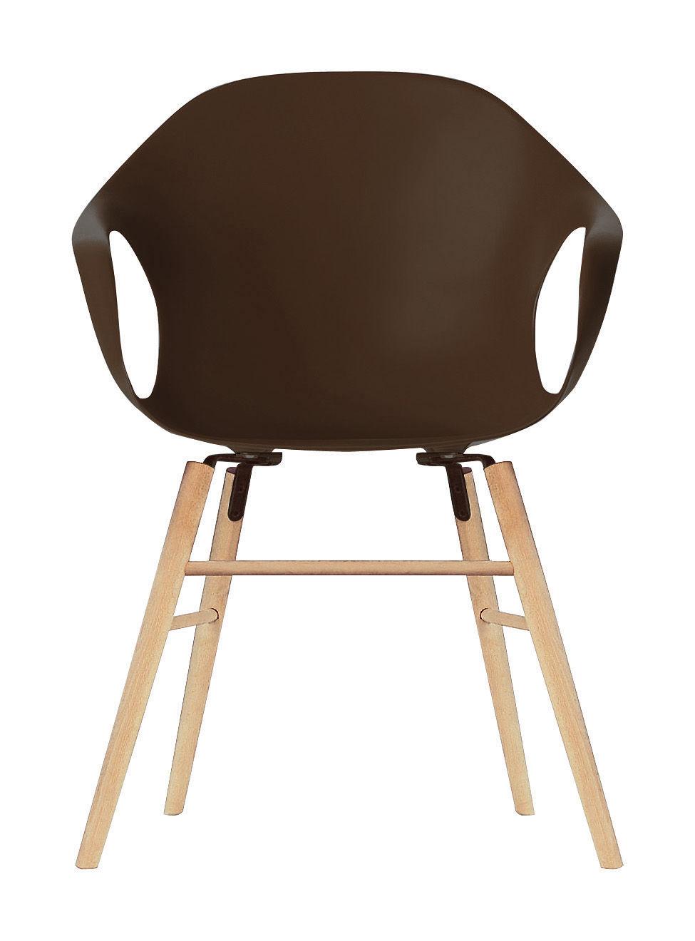 Mobilier - Chaises, fauteuils de salle à manger - Fauteuil Elephant Wood / Coque plastique & pieds bois - Kristalia - Marron - Hêtre, Polyuréthane laqué