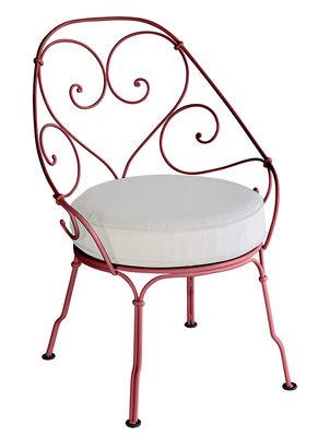 Mobilier - Fauteuils - Fauteuil rembourré 1900 Cabriolet - Fermob - Piment / Coussin blanc - Acier peint, Mousse polyuréthane haute résilience, Tissu Sunbrella