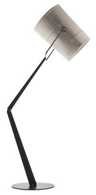 Lighting - Floor lamps - Fork Floor lamp by Diesel with Foscarini - Ivory / Brown base - Anodized metal, Fabric