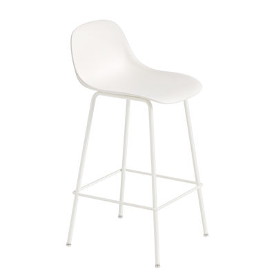 Möbel - Barhocker - Fiber Bar Hochstuhl / H 65 cm - Metallfüße - Muuto - Weiß - bemalter Stahl, Recyceltes Verbundmaterial