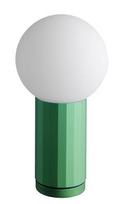 Lampe de table Turn on LED / H 19,5 cm - wrong.london vert en métal