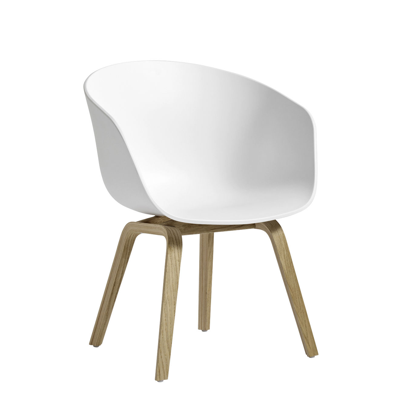 Furniture - Armchairs - About a chair AAC42 Low armchair - / Plastic & oak by Hay - White / Soaped oak - Oak, Polypropylene