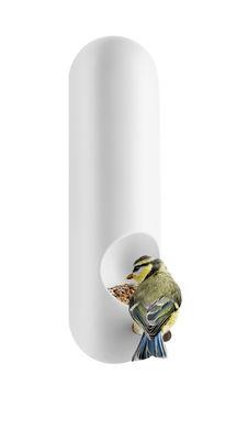 Outdoor - Déco et accessoires - Mangeoire à oiseaux tubulaire / Fixation murale - Eva Solo - Blanc - Céramique, Chêne