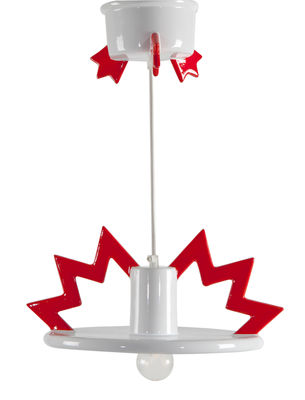 Lighting - Pendant Lighting - Santa Fe Pendant by Memphis Milano - White and red - Enamelled china