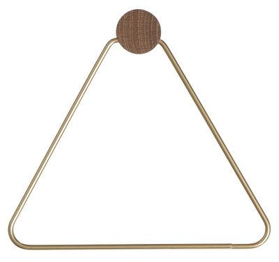 Accessori - Accessori bagno - Portacarta igienica Brass di Ferm Living - Ottone, legno naturale - Ottone, Rovere