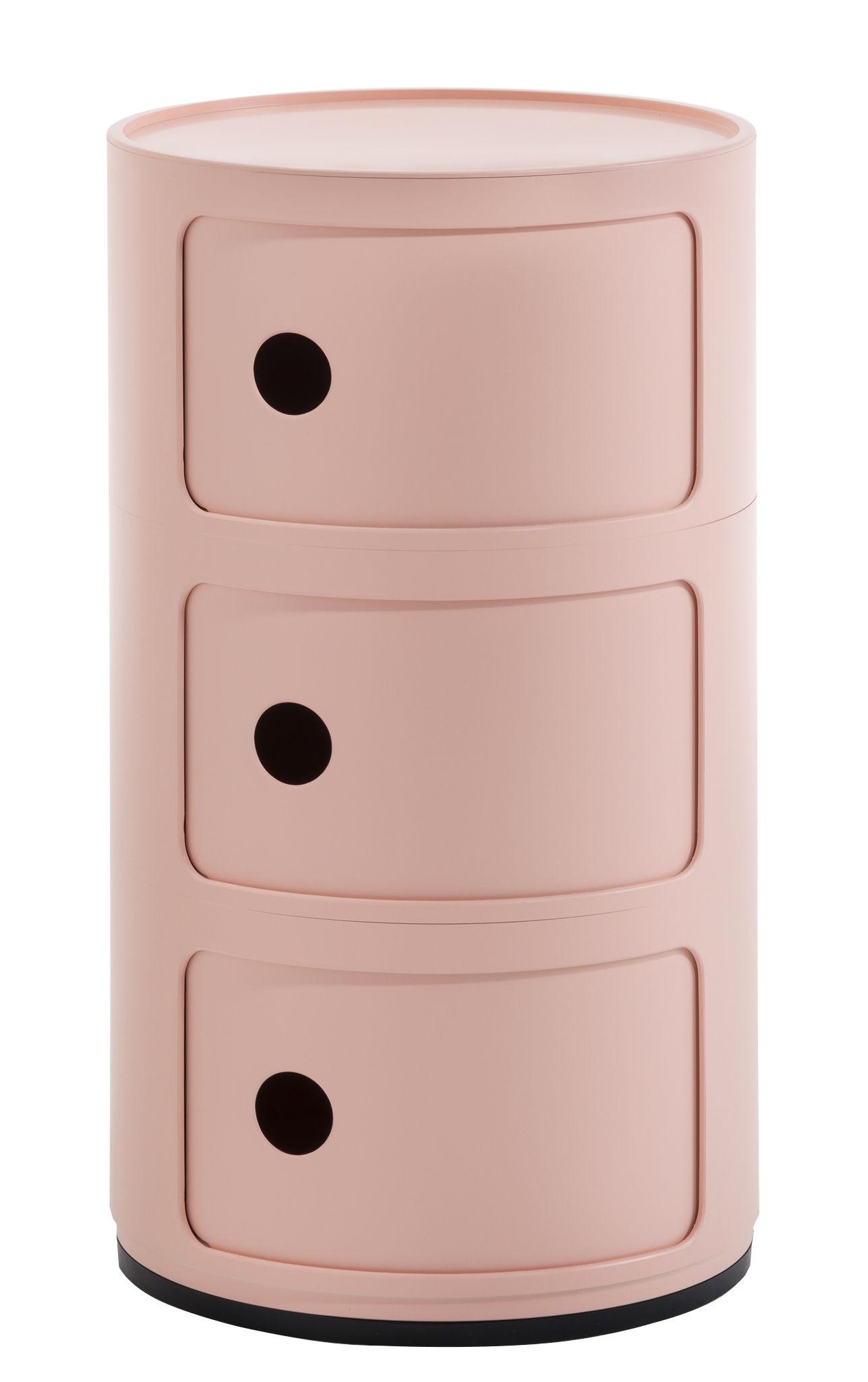 Arredamento - Tavolini  - Portaoggetti Componibili Bio - / 3 cassetti - Materiale naturale & biodegradabile di Kartell - Rosa - Bioplastica Bio-On