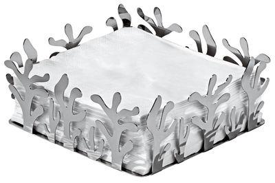 Porte-serviettes en papier Mediterraneo / Corbeille 20 x 20 cm - Alessi acier poli en métal
