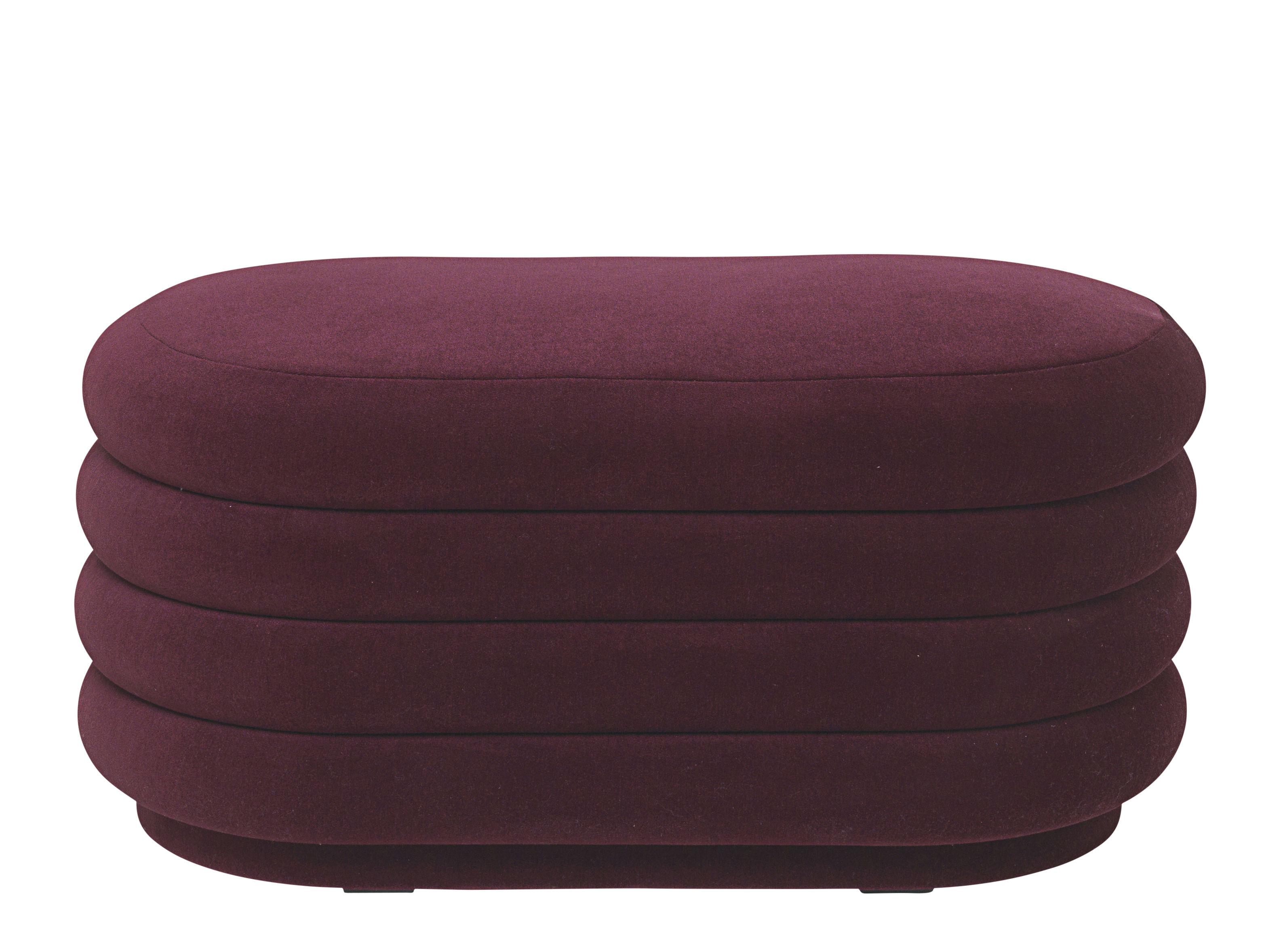 Mobilier - Poufs - Pouf Oval Medium / 90 x 42 cm - Velours - Ferm Living - Bordeaux - Bois, Mousse, Velours