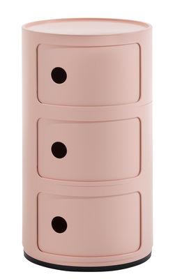 Mobilier - Tables basses - Rangement Componibili Bio / 3 tiroirs - Matériau naturel & biodégradable - Kartell - Rose - Bioplastique Bio-On