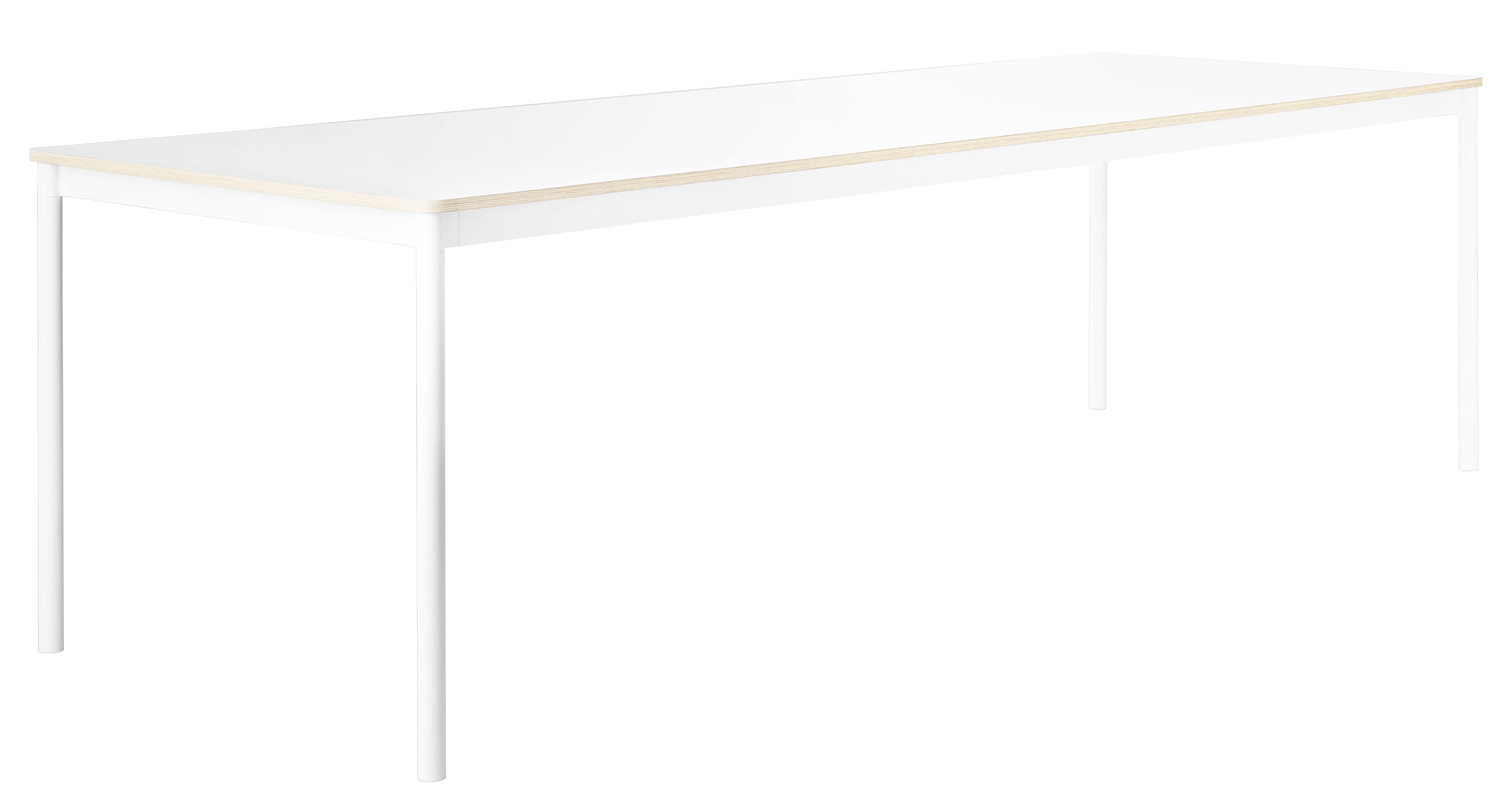 Möbel - Tische - Base rechteckiger Tisch / Tischplatte aus Holz - 250 x 90 cm - Muuto - Weiß - extrudiertes Aluminium, Furnier, Press-Spanplatte