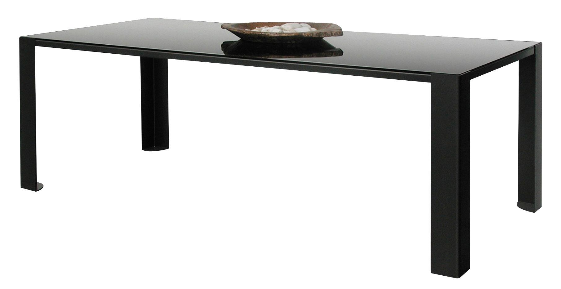 Möbel - Tische - Big Irony Black Glass rechteckiger Tisch Platte: schwarzes Glas - Zeus - Platte: schwarz Glas - 90 x 200 cm - bemalter Stahl, Glas