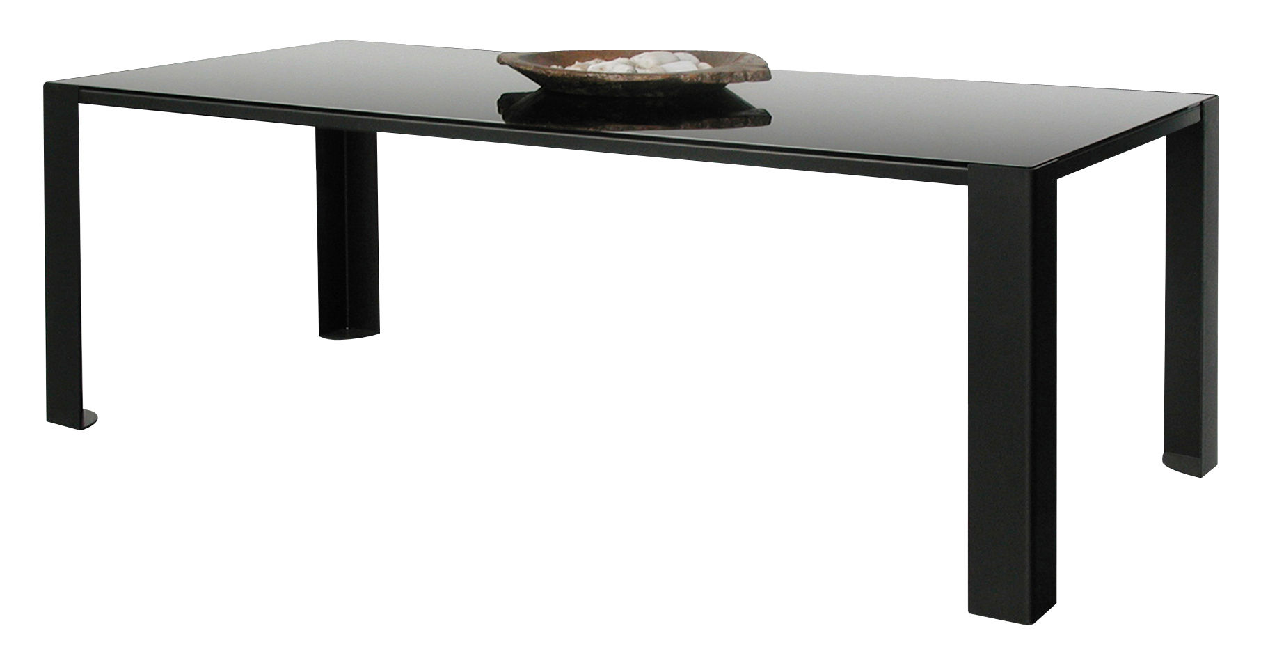 Furniture - Dining Tables - Big Irony Black Glass Rectangular table - Black glass table top - L 200 cm by Zeus - Black glass top / bronze mirror - Glass, Painted steel