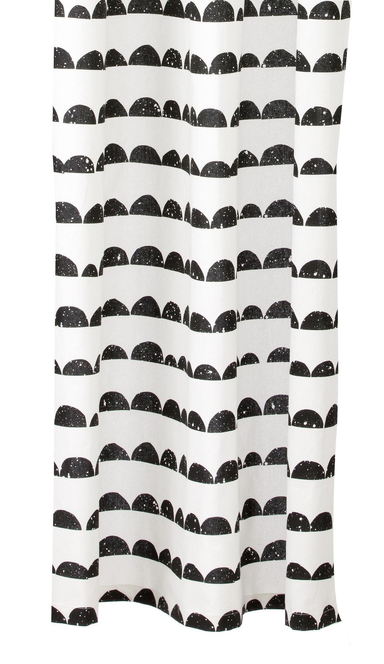Accessoires - Accessoires salle de bains - Rideau de douche Half Moon / 160 x H 200 cm - Ferm Living - Noir , blanc - Coton