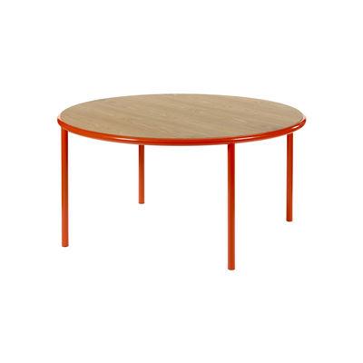 Furniture - Dining Tables - Wooden Round table - / Ø 150 cm - Oak & steel by valerie objects - Red / Oak - Oak, Steel