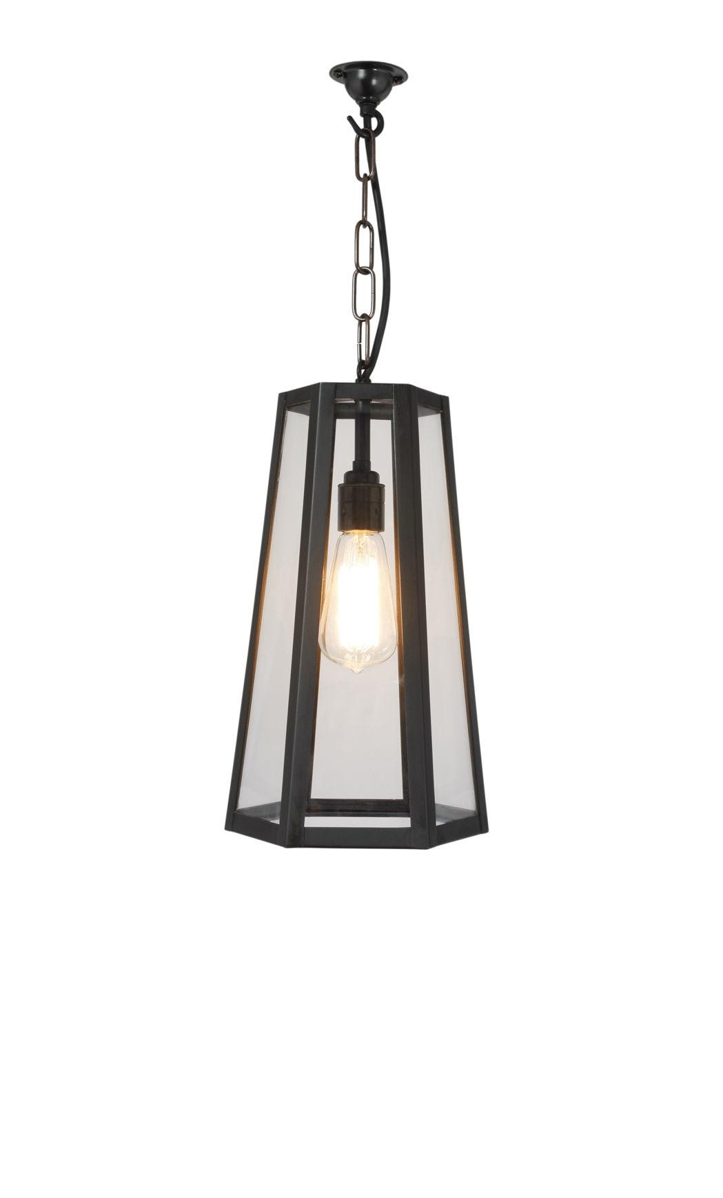 Illuminazione - Lampadari - Sospensione Hex - / H 35 cm - Metallo & vetro di Original BTC - nero & trasparente - Laiton vielli, Vetro