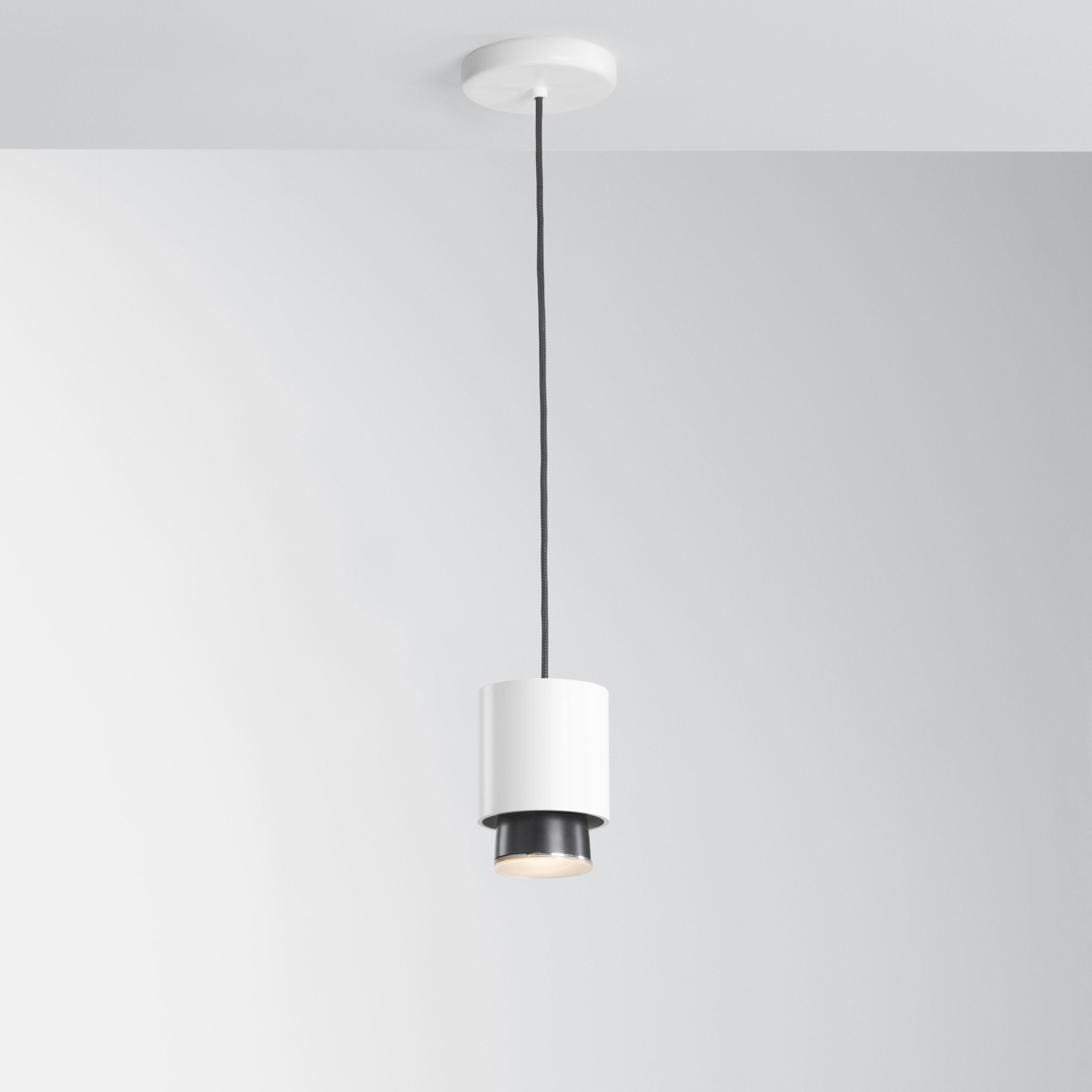 Luminaire - Suspensions - Suspension Claque LED / Ø 10 x H 13 cm - Fabbian - Blanc - Aluminium peint