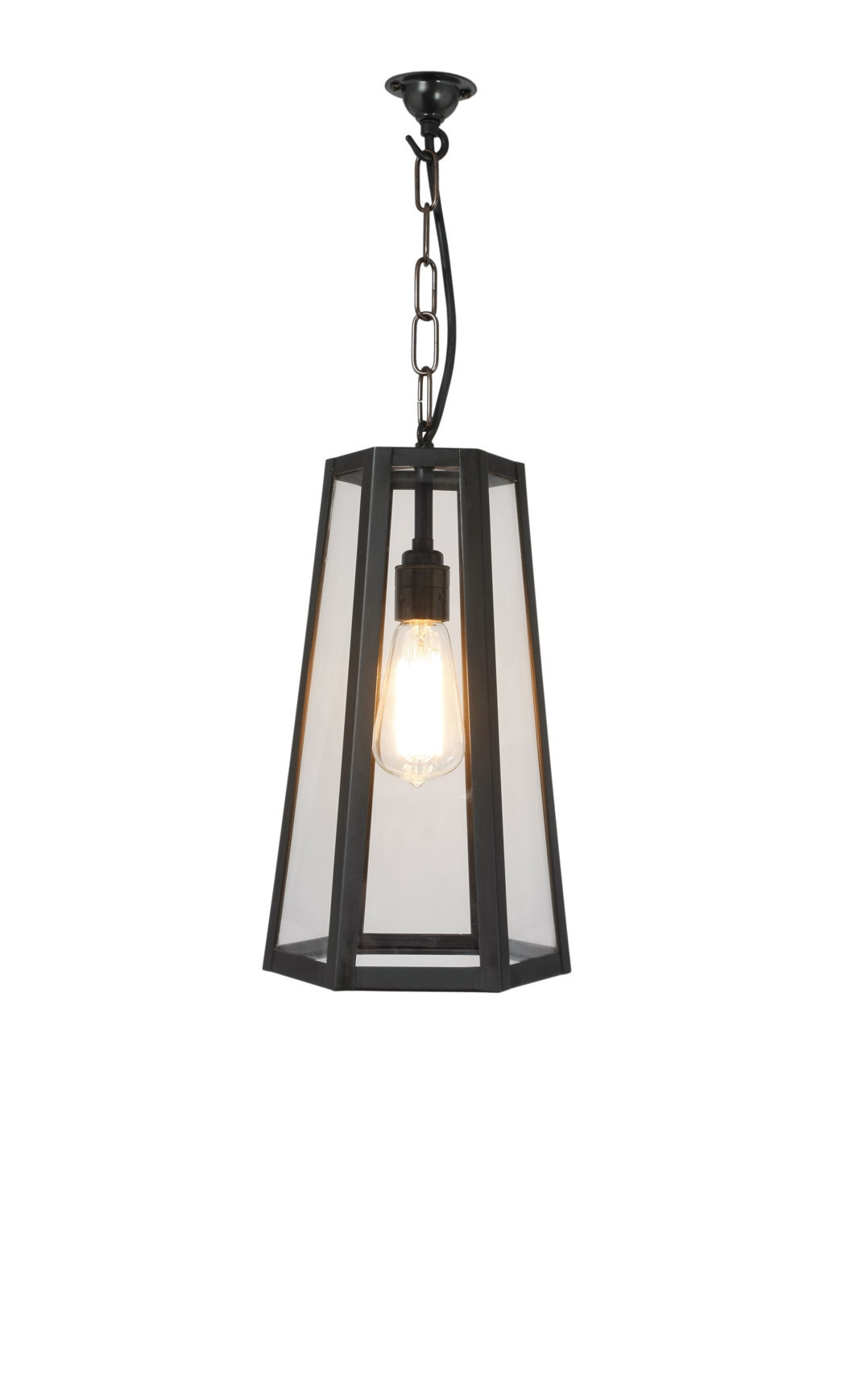 Luminaire - Suspensions - Suspension Hex / H 35 cm - Métal & verre - Original BTC - Noir & transparent - Laiton vielli, Verre