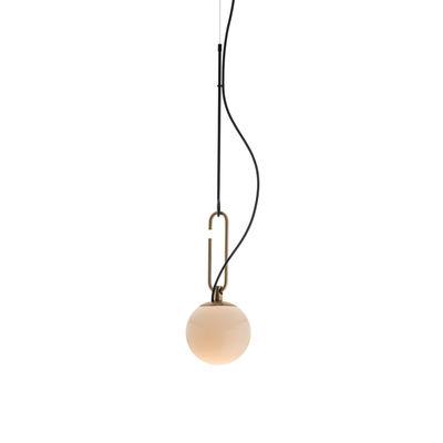 Suspension nh 14 / Verre soufflé & laiton - Globe Ø 14 cm - Artemide blanc,noir,laiton en verre