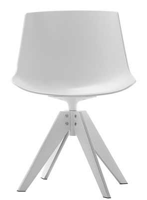 Furniture - Chairs - Flow Swivel chair - 4 VN steel legs by MDF Italia - White seat / White leg - Lacquered steel, Polycarbonate
