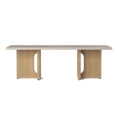 Mobilier - Tables basses - Table basse Androgyne / Pierre & chêne - 120 x 45 cm - Menu - Pierre Sable / Chêne - MDF plaqué chêne, Pierre Kunis Breccia