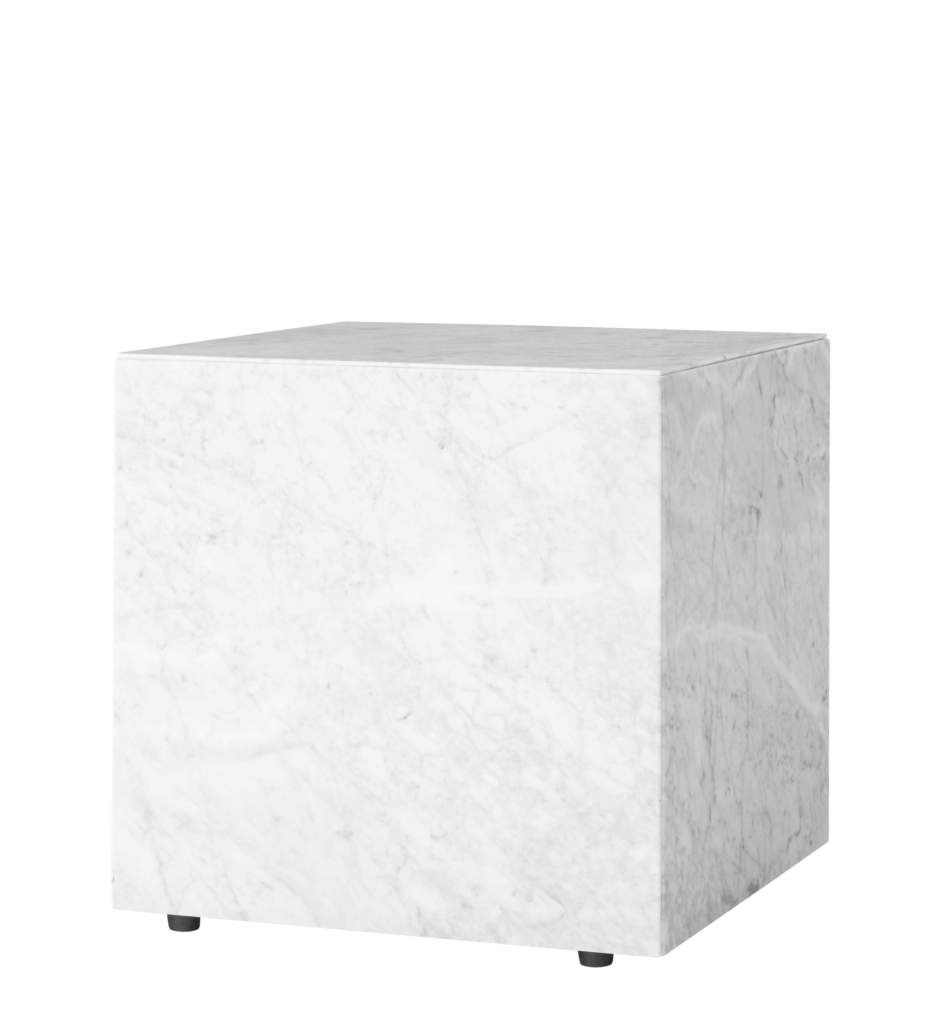 Mobilier - Tables basses - Table d'appoint Plinth Cubic / Marbre - 40 x 40 x H 40 cm - Menu - Blanc - Bois d'acacia, Marbre