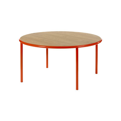 Mobilier - Tables - Table ronde Wooden / Ø 150 cm - Chêne & acier - valerie objects - Rouge / Chêne - Acier, Chêne
