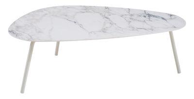 Arredamento - Tavolini  - Tavolino basso Terramare / Grès effetto marmo - L 108 cm - Emu - Effetto marmo Bianco / Gambe bianche - alluminio verniciato, Gres porcellanato